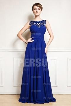 Robe bleu royal longue à dos nu aux bretelles strassées