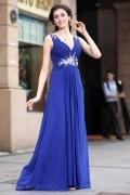 Robe bleue décolleté V plissée & strassée empire pour mariage