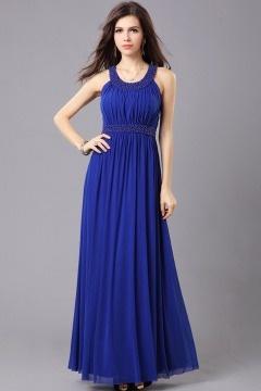 Robe bleue demoiselle d'honneur col rond aux bijoux dos nu mousseline
