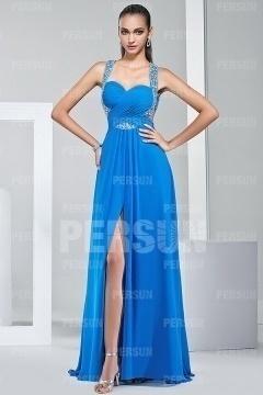 Robe bleue longue ornée de strass dos nu & fendue pour soirée