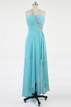 Robe chic bleu asymétrique bustier cœur à paillettes courte devant longue derrière