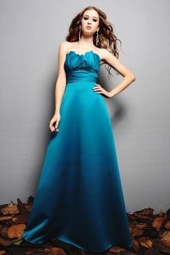 Robe chic bleu turquoise décolletée vague en satin pour mariage
