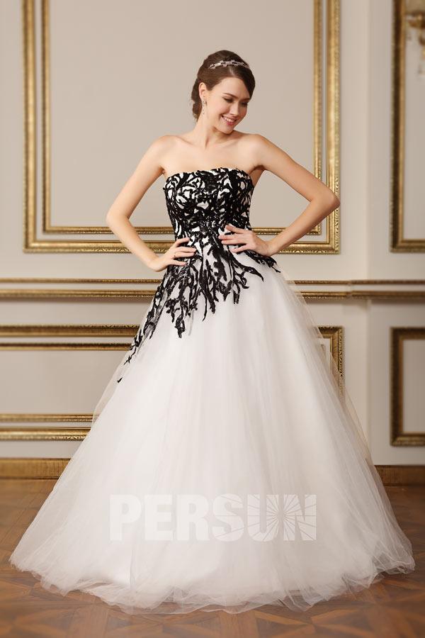 Robe chic pour mariée noire et blanche à bustier droit en motif
