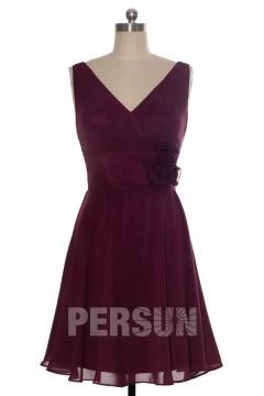 Robe chic rose fuchsia vintage décolleté V courte pour témoin mariage