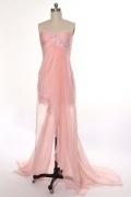 Robe chic rose poudré bustier cœur appliquée dentelle courte devant longue derrière en tencel