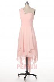 Robe chic rose poudrée col asymétrique & jupe irrégulière pour cortège mariage
