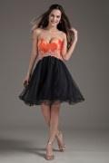 Robe cocktail de mariage courte bustier cœur bordé bicolore noir-orange