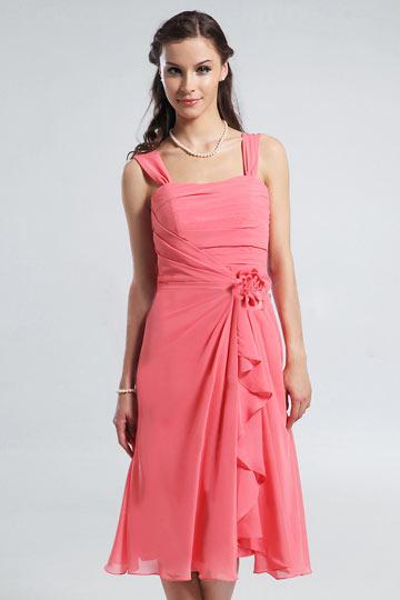 Robe corail pour mariage avec fleurs en mousseline for Robes de fleurs pour les mariages