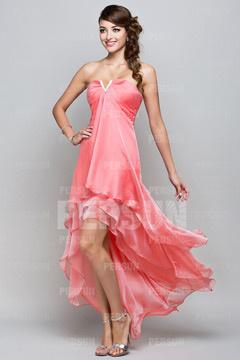 Robe corail pour mariage bustier encolure djellaba courte devant longue derrière