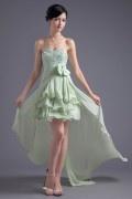 Robe courte verte pour mariage bustier en sequins jupe à volants