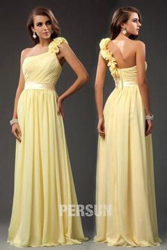 Robe de cérémonie longue pour mariage jaune asymétrique orné de fleurs