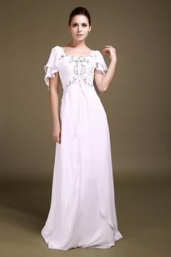 Robe de fiançailles blanche longue aux bijoux à mancheron
