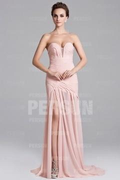 Robe de soirée longue robe pastel décolletée coeur avec fente latérale