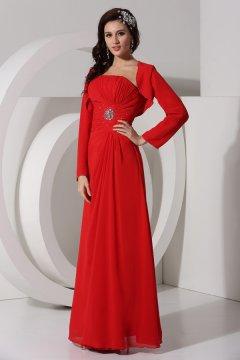 Robe de soirée rouge à bustier orinée de strass en mousseline