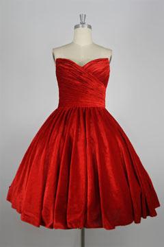 Robe de soirée rouge bustier vague plissée mi-longue en velours