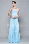 Robe demoiselle d honneur bleu clair longue bustier plissée