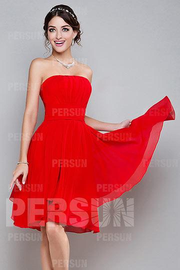 Robe demoiselle d honneur rouge courte bustier droit plissé en mousseline