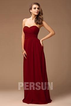 Robe demoiselle d honneur rouge longue bustier coeur avec une fente frontale