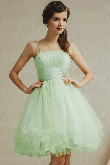 robe demoiselle d honneur verte pastel en tulle aux fines brtelles. Black Bedroom Furniture Sets. Home Design Ideas