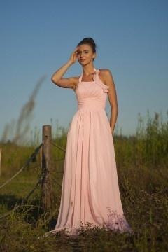 Robe élégante plissée pour mariage rose pastel à col halter en mousseline