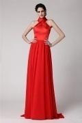 Robe longue de soirée rouge à col croisé pour mariage