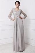 Robe longue grise plissée décolletée V & manche longue pour soirée mariage