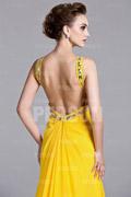 Robe longue jaune col halter dos nu embellie de strass à traîne pour mariage