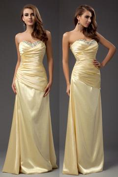 Robe demoiselle d 39 honneur jaune en ligne robespourmariage for Robe jaune pour mariage