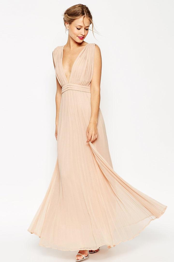 Robe longue maxi pliss e d collet e v plongeant en for Robes de mariage maxi uk