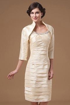 Robe mère de mariée courte  à bretelle ornée de strass