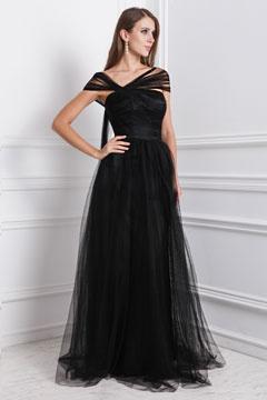 Robe noire encolure asymétrique longue en tulle pour soirée mariage