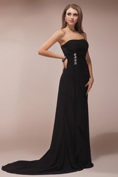 Robe noire longue bustier taille aux bijoux pour soirée