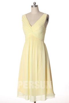 Robe rose courte empire pour mariage décolletée en V plissés