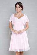 Robe rose courte pour mariage empire à mancheron volants