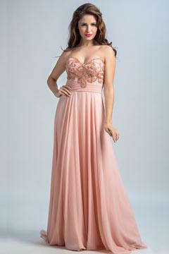 Robe rose de fiançailles bustier cœur strassé et bordé vintage