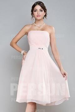 Robe rose demoiselle d honneurbustier droit plissée & ceinturée en mousseline