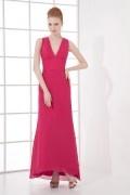 Robe rose fuchsia longue col V plongeant dos découpé