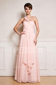 Robe rose longue asymétrique pour mariage en mousseline