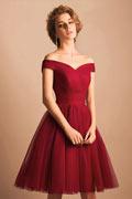 Robe rouge décolleté bardot rétro courte au genou en tulle