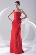 Robe rouge élégante pour cortège mariage colonne plissée taille à fleur