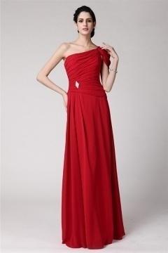 Robe rouge fiançailles longue à encolure plissée asymétrique