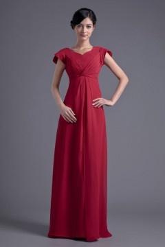 Robe rouge longue empire témoin mariage à mancherons col V en mousseline