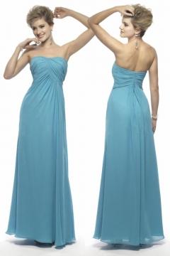 Robe simple bleue turquoise plissée au niveau du bustier pour demoiselle d'honneur