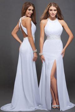 Robe soirée longue blanche dos découpé avec une fente latérale