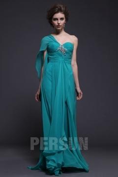 Robe turquoise pour mariage longue bustier plissé asymétrique embellie de bijoux