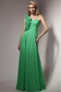 Robe verte émeraude longue asymétrique à une bretelle fleurie