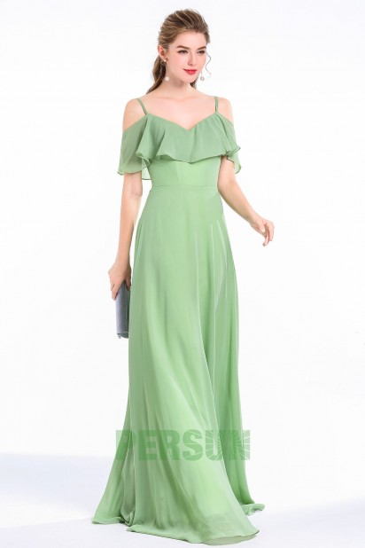 Robe cocktail verte mousse longue col V à volants fluide