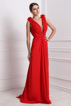 Sexy robe longue rouge décolletée en V plongeant à épaule ornée de fleurs