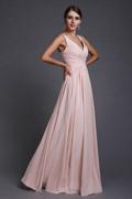 Simple robe rose pour mariage longue plissés