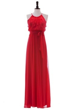 Simple robe rouge de soiree encolure halter en mousseline